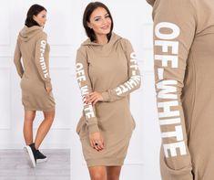 Moderné dámske športové šaty kamel s potlačou a kapucňou Sweaters, Dresses, Fashion, Camel, Vestidos, Moda, Fashion Styles, Sweater, Dress