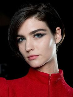 Armani Prive - Couture Fall 2014 bold brows and smudged eyeliner | allure.com