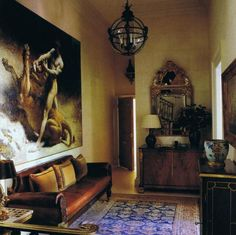 "Cecil Beaton's Apartment with Leon Bonnat's ""Samson's Youth"" on the wall"