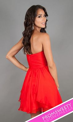 Sweet Sixteen Strapless Red Party Dress 10069 by Dave and Johnny Back