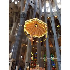Beautiful altar piece with backlit stained glass windows in the the Sagrada Famila, Gaudi's vision yet to be completed #