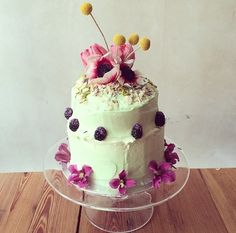 Lily vanilli bakery tiered cake with flowers