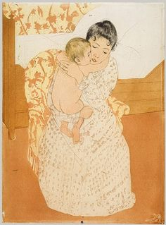 """Mary Cassatt, """"Maternal Caress,"""" 1890-1891, color drypoint and aquatint on cream laid paper."""