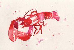 Art Print Lobster watercolor art print seafood ocean par AdelleINK
