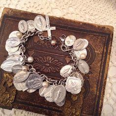 Vintage Multi Religious Medals Charm assemblage braceletooak