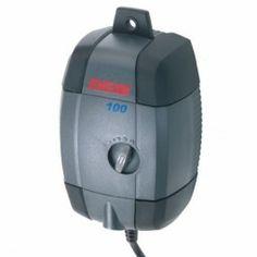 Luftpumpe für Aquarien, besonders leise und regulierbar. Inklusive Lufschlauch und Ausströmer.  Kann an der Wand befestigt werden. 3,5 Watt, 100l/h