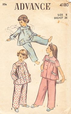 1940s Girls' Pajamas with Yoked Top - Vintage Advance Sewing Pattern 4180 - Size 8
