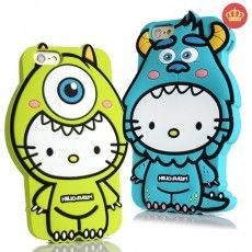 Capinha de Silicone 3D Hello Kitty Mike para iPhone 5/5S/6/6S