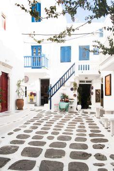 ~ 'Cobbled Street, Mykonos Town by Eleni Psyllaki ~ Mykonos Town, Santorini, Mykonos Greece, Byzantine Architecture, Art And Architecture, San Giorgio Mykonos, Greek Decor, Beach Furniture, Village House Design