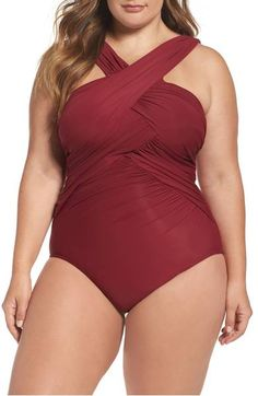 Plus Size High Neck One-Piece Swimsuit