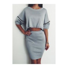 Rotita Round Neck Half Sleeve Top and Sheath Dress ($23) ❤ liked on Polyvore featuring dresses, outfit, grey, half sleeve dresses, knee length dresses, gray dress, sheath dress and pattern dress