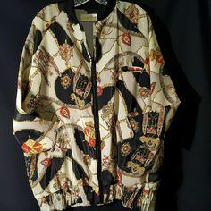 Saks Fifth Avenue Women's Jacket Vintage Baroque Print Gold Chains Family Crest  #SaksFifthAvenue #Everyday
