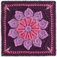 "Crochet square ♥ [ ""Ravelry - Simple 10 Petal Afghan Square pattern - by Joyce Lewis ♥"", ""I love the pattern and this color choice is nice too. Ravelry: Simple Afghan Square pattern by Joyce Lewis"", ""Simple Afghan Square pattern by Joyce Lewis. Point Granny Au Crochet, Grannies Crochet, Beau Crochet, Crochet Squares Afghan, Mode Crochet, Crochet Motifs, Crochet Blocks, Granny Square Crochet Pattern, Crochet Stitches"