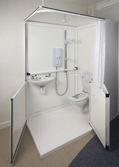 Shower Loo Cubicles - Living made easy Shower Pods, Small Shower Room, Small Showers, Handicap Toilet, Handicap Bathroom, Tiny Bathrooms, Small Bathroom, Van Conversion Interior, Mini Bad