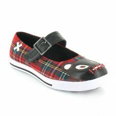 TUK A8112L Tartan Teddy Womens Flat Tartan Mary-Jane Shoes - Red   Black aea7e160bd5d
