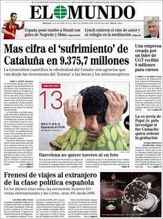Los Titulares y Portadas de Noticias Destacadas Españolas del 16 de Octubre de 2013 del Diario El Mundo ¿Que le pareció esta Portada de este Diario Español?