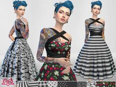 The Sims Resource: Rossana dress recolor 3 by Colores Urbanos • Sims 4 Downloads