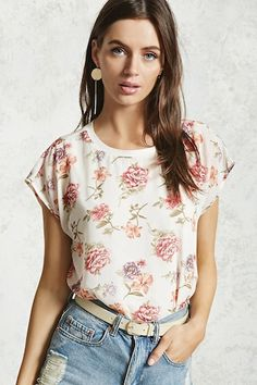 Style Deals - A top featuring an woven overlayer with a floral print, cap sleeves, and a crew neck, as well as an attached knit tank top underlayer.