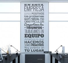 Vinilo decorativo texto en esta empresa Office Art, Office Decor, Home Office, Clean Up Day, Corporate Office Design, Workshop Design, Break Room, Work Quotes, Texts