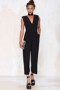 Nasty Gal Killer Queen Plunging Jumpsuit - Clothes