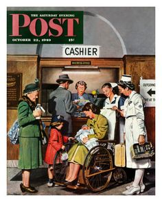 """Leaving the Hospital,"" Saturday Evening Post Cover, October 22, 1949 by Norman Rockwell"