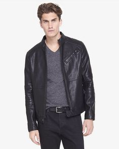 Express | Black (minus The) Leather Biker System Jacket for Men | Lyst