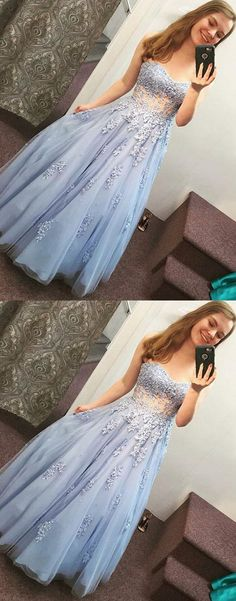 Blue lace tulle long prom dress, sweetheart evening dress P1605 #promdresses #longpromdress #2018promdresses #fashionpromdresses #charmingpromdresses #2018newstyles #fashions #styles #hiprom #bluepromdress
