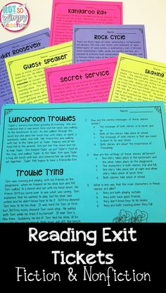 These reading exit tickets are a simple way to assess informational and literature reading standards! There are assessments for comparing and contrasting, character traits, point of view, main idea and so much more!