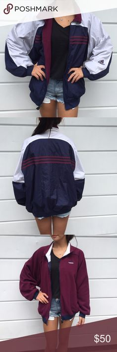 Vintage Adidas Reversible Jacket the size tag was cut off so im guessing its a large or xl, im a size small so you can get an idea. other than that its super cute. adidas Jackets & Coats