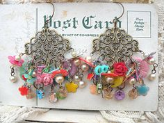 random bauble earrings charm upcycle kitsch by lilyofthevally