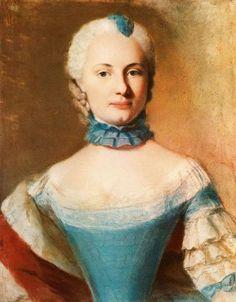 """""""Duchess Elisabetta Federica Sofia de Württemberg"""", 1745, by Jean-Étienne Liotard (Swiss, 1702-1789)."""
