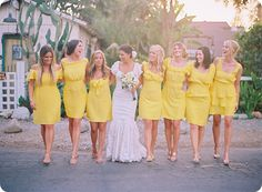 love these bright yellow bridesmaid dresses