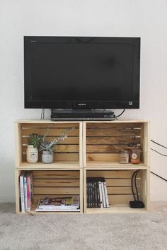 DIY Crate TV Stand — Cashmere and Plaid