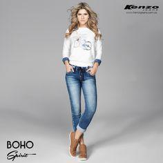Jogger Style: Nuestros jeans Jogger son una mezcla entre el denim tradicional y el tejido de punto, brindando comodidad y resistencia en una sola prenda. #BohoSpirit #KenzoJeans Conoce más en www.kenzojeans.com.co