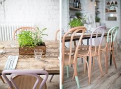 Pastels with Grey: Hally's Parsons Green, communal tables with pastel colored dip dyed bentwood chairs Recycled Furniture, Outdoor Furniture Sets, Outdoor Decor, Furniture Ideas, Blueberry Home, Amy Howard Paint, Painted Wooden Chairs, Parsons Green, Communal Table