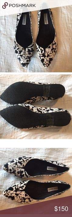 HOST PICK  Steve Madden Dalmatian Flats NWOT RARE! Real Calf Fur. So rare I can't even find 1 image of them online and I'm basically a black belt at that. NEVER WORN  These are one of my all time favorite finds and they need a good home! Steve Madden Shoes Flats & Loafers