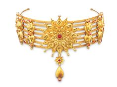 Seven flower gold choker from the World Gold Council's 'Tarun Tahiliani for Azva' collection.