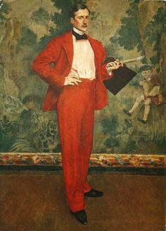 L'homme en rouge, Portrait of the French painter, Paul Baignères, 1894 by Henri Evenepoel (Belgian1872-1899).....