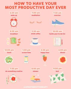 An Hour-by-Hour Roadmap to Your Most Productive Day Ever If your daily routine c. An Hourly Roadmap to Your Most Productive Day Ever If your daily routine could be tweaked a bit, you'll find a science-based template here. Good Habits, Healthy Habits, Healthy Day Routine, Health Routine, Healthy Carbs, Healthy Eating Tips, Wellness Tips, Health And Wellness, Wellness Plan