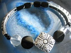 """Black & Silver Beaded Bracelet (25)  7 1/2"""", for women, designed long beads, Lovely, Athena Collection, unique visions by jen"""