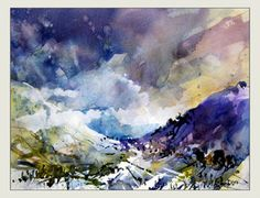 """Roy Simmons art ~ """"Did a bit of a poem with this one...  """"Shadows; Hill,  Misty and wet,  dripping purple and cobalt blue in the early morning light.  Time to breathe in, cold nip and melancholic silence."""""""