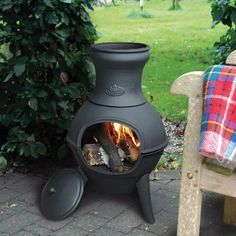 As the weather cools down, warm up with this little patio heater chiminea from Esschert Designs. Built to burn evenly and last for years, bring your Fall and Winter parties outside with this Chiminea from Great Garden Supply! Outdoor Heaters, Patio Heater, Outdoor Rooms, Outdoor Living, Outdoor Decor, Outdoor Ideas, Backyard Ideas, Lawn And Garden, Home And Garden