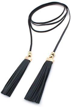 Faux Leather Tassel Double Wrap Choker Necklace - Black / Gold