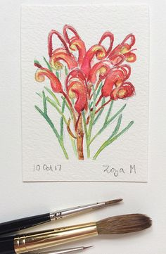 Small watercolour painting of Grevillea by Zoya Makarova.  Artist Trading Card size 3.5 x 2.5 inches