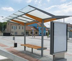 regio Bus stop shelter Urban Furniture, Street Furniture, Furniture Design, Furniture Stores, Bike Shelter, Bus Shelters, Timber Structure, Shade Structure, Urban Architecture