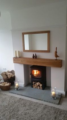 Good Photos oak Fireplace Remodel Tips Excellent Cost-Free Fireplace Remodel for tv Ideas Oak Beam Fireplaces and Mantlepieces – Planed Wood Burner Fireplace, Home Fireplace, Living Room With Fireplace, Fireplace Design, New Living Room, Home And Living, Living Room Decor, Fireplace Hearth, Modern Fireplace