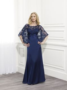 Fashionable Illusion Floor Length Blue Chiffon A Line Mother Of The Bride Dress B2va0005