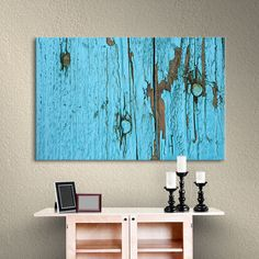 "Latitude Run Turquoise Paint  Photographic Print on Wrapped Canvas Size: 16"" H x 24"" W x 2"" D"