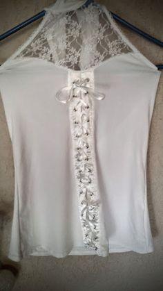Top dentelle et satin blanc femme à lacets à partir de 5 euros