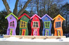 whimsical jellybean houses coat/towel rack